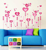 WallTola PVC Vinyl Pink Lovely Hearts & Birds Wall Sticker