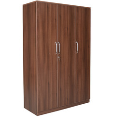 Wego Three Door Wardrobe in Walnut Colour by Crystal Furnitech