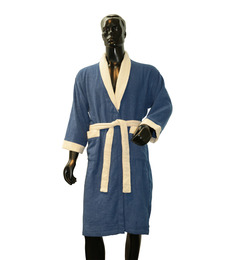 Welhome Blue & Ivory Cotton 24 x 41 Inch Bath Robe