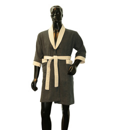 Welhome Grey & Ivory Cotton 24 x 41 Inch Bath Robe