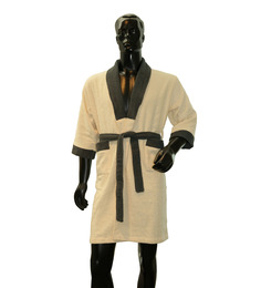 Welhome Cream & Green Cotton 22.5 x 36 Inch Bath Robe