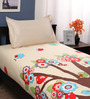 Welhome Multicolour Nature & Florals Cotton Single Size Bed Sheets - Set of 2