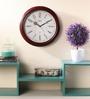 Wertex Brown Glass & MDF 12 Inch Round Wall Clock