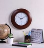 Wertex Brown Glass & MDF 12 Inch Round Wall Clock