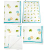 Cocobee White Elephant and Flower Print Baby Quilt in White Colour