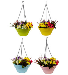 Wonderland Set Of 4 : Hanging Railing Planter With Metal Chain In Green, Yellow, Pink & Blue
