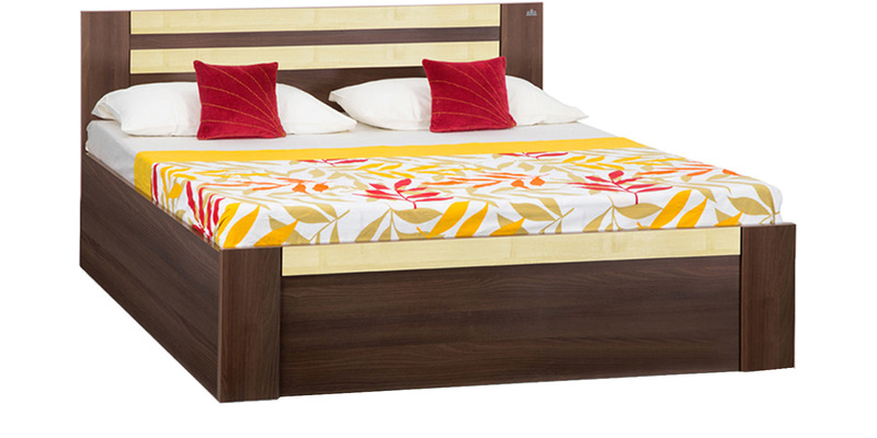 Woody King Bed with Box Storage in Dark Acacia & Maple Matt Finish by Debono