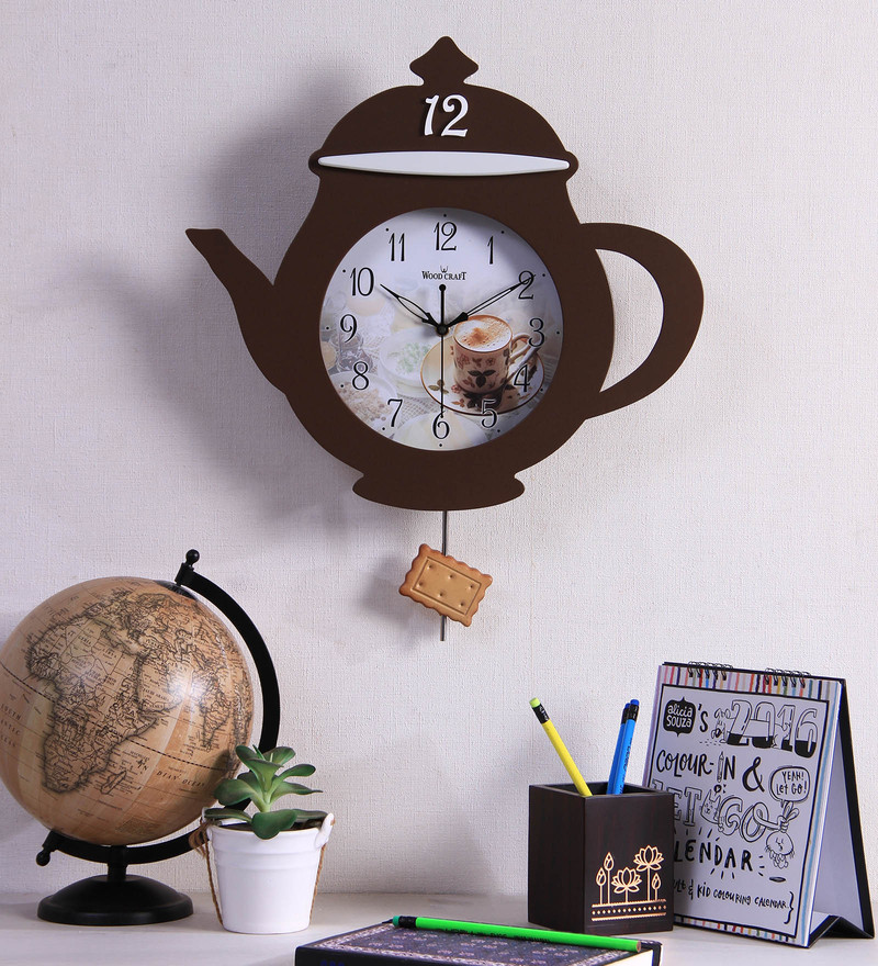 Wood Craft Black Glass & MDF 16.1 x 1.5 x 18.5 Inch Wall Clock  available at Pepperfry for Rs.1650