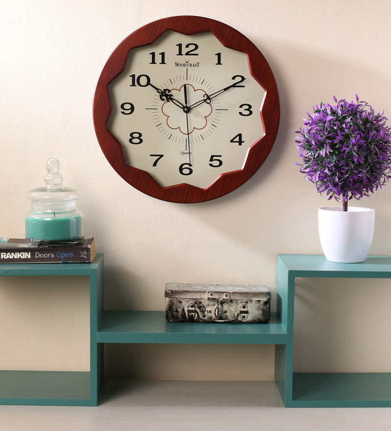 Wood Craft Brown Glass & MDF 12.8 Inch Round Wall Clock  available at Pepperfry for Rs.1375