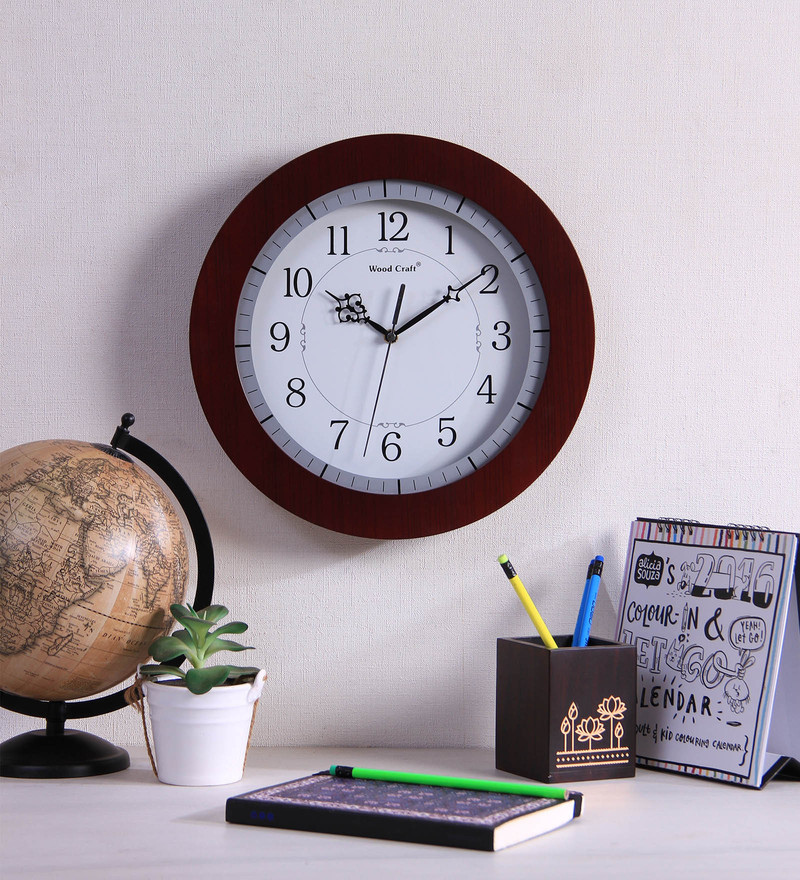 Wood Craft Brown Glass & MDF 13.2 Inch Round Wall Clock  available at Pepperfry for Rs.1695