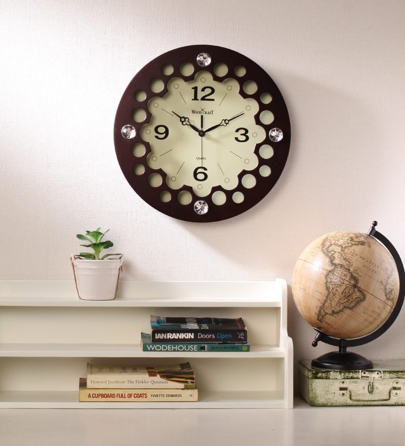 Wood Craft Brown Glass & MDF 15.9 Inch Round Wall Clock  available at Pepperfry for Rs.1650