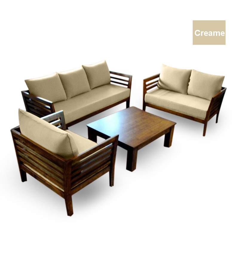 Wooden sofa set 3 2 1 seater coffee table by furny for 9 seater sofa set