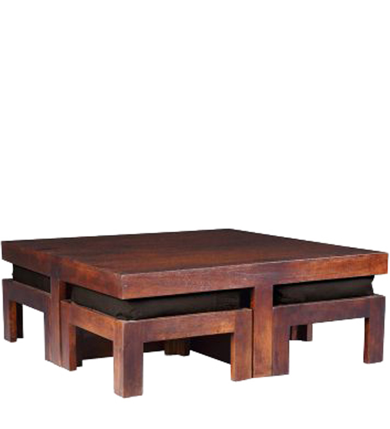 Wooden Square Coffee Table With Four Stools In Light Honey Finish By House Of Furniture By House