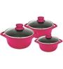 Wonderchef Cook N Serve Pink Aluminium Casserole - Set of 3