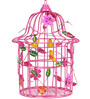 Wonderland Big Size Decorative Bird Cage Pink Color with Metal Birds inside