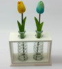 Importwala Wooden Frame with 2 Glass Vases