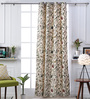 Woodson Off White Cotton 51 x 83 Inch Nature & Florals Pattern Door Curtains - Set of 2