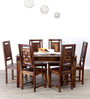 Woodway Six Seater Dining Set in Provincial Teak Finish by Woodsworth