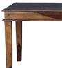 Woodway Six Seater Dining Table with Glass Top in Provincial Teak Finish by Woodsworth