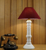 Woody Lamp House Maroon Poly Cotton Table Lamp
