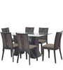 Xena Six Seater Dining Set in Walnut finish by @Home