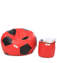 XL Football Bean Bag & Round Puffy  Filled With Beans (Set Of 2) In Red & Black Colour By Can