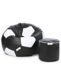 XL Football Bean Bag & Round Puffy  Filled with Beans (Set of 2) in Black & White Colour by Can
