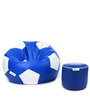 XL Football Bean Bag & Round Puffy  Filled with Beans (Set of 2) in Blue & White Colour by Can