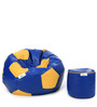 XL Blue & Yellow Football Bean Bag & Puffy Filled with Beans (Set of 2)by Can