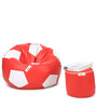 XL Red & White Football Bean Bag & Puffy Cover without Beans (Set of 2)by Can