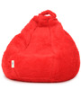 Fur Bean Bag Filled with Beans in Red Colour by Can