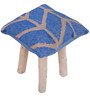 Yakoa Hand-Made Stool in Blue & Beige Colour by The Rug Republic