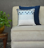 Yamini Blue & White Cotton 12 x 12 Inch Embroidered with Contrast Piping Cushion Cover