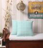 Yamini Light Blue Cotton 16 x 16 Inch Checks with Knife Edge Cushion Cover