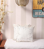 Yamini Off White & Silver Cotton 12 x 12 Inch Sequins Embroidered Cushion Cover