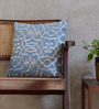 Yamini Pale Blue & Silver Cotton 16 x 16 Inch All Over Jall Embroidered Cushion Cover