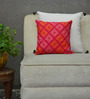Yamini Pink & Orange Cotton 12 x 12 Inch Mosaic Embroidered Cushion Cover