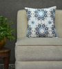 Yamini White & Blue Cotton 16 x 16 Inch Floral Embroidered Cushion Cover