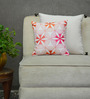Yamini Multicolour Cotton 12 x 12 Inch Floral Embroidered Cushion Cover