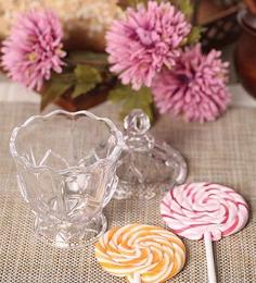 Yera Lotus Ornamental Glassware Canister - Set of 2