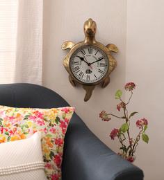 Zahab Brown Brass 12 X 6 X 18 Inch Antique Good Luck Tortoise Wall Clock