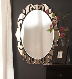 Zahab Multicolor Glass Crown Wall Mounted Decorative Mirror