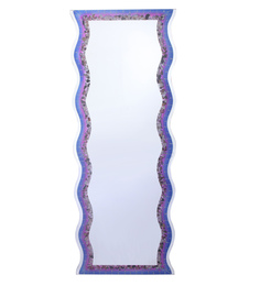 Zahab Purple Glass Stone Wall Mounted Decorative Mirror