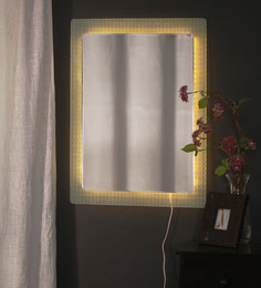 Zahab White Glass Stripes LED Wall Mounted Mirror