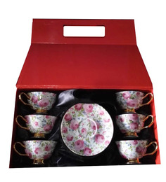 ZARS Gift Box Bone China 200 ML Cups And Saucer - Set Of 6 - 1426181