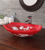 Zahab Oval Rim Pebbles Red & White Resin Wash Basin (Model: P10-309)