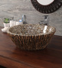 Zahab Wooden Leaf Craving Brown Mother of Pearl Wash Basin (Model: M35-276)