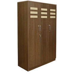 Zegna Three Door Wardrobe in Wenge & White Colour by Crystal Furnitech
