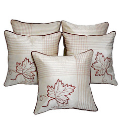 Zikrak Exim Leaf Embroidery Ivory Cushion Covers (Set Of 5)