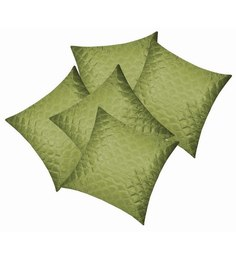 Zikrak Exim Green Polyester 16 X 16 Inch Square Quilting Cushion Covers - Set Of 5